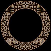 Cadre rond fait avec des chaînes d'or. Sur le noir. Illustration vectorielle