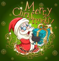 Joyeux Noël affiche avec Père Noël et cadeau vecteur