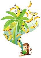 Livre de lecture de singe de banane vecteur