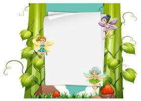 Conception de papier avec des fées en vol