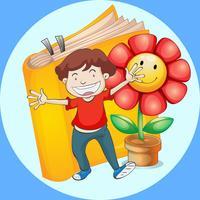Garçon heureux avec fond de livre et de fleurs