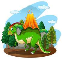 Dinosaure vert dans la forêt vecteur