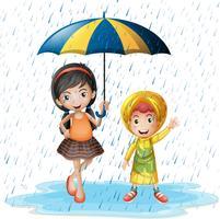 Deux enfants sous la pluie vecteur