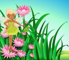 Une fée au jardin vecteur