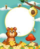 Cadre, ours, abeilles vecteur