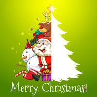 Thème de Noël avec Père Noël et bonhomme de neige vecteur