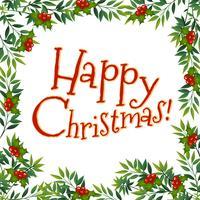 Joyeux Noël carte avec gui vecteur
