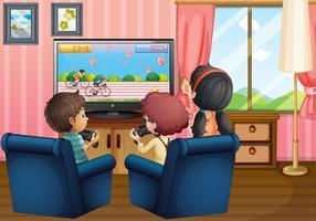 Enfants jouant à la maison vecteur