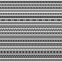 Motifs d'éléments de décoration de frontière en couleurs noir et blanc. Illustrations vectorielles