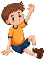 Petit garçon ayant le bras levé pour une question