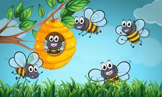 Scène avec abeilles et ruche