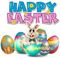 Joyeuses Pâques avec lapin dans l'oeuf