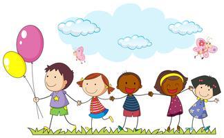 Enfants, tenant mains, dans parc
