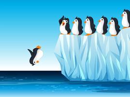 Pingouin sautant dans l'océan vecteur