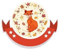 Modèle de logo avec renard et feuilles