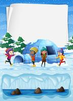 Enfants au pôle Nord et à l'Igloo vecteur