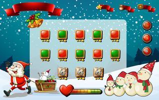 Modèle de jeu avec Père Noël et bonhomme de neige vecteur