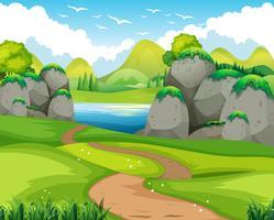 Scène nature avec piste de randonnée et lac