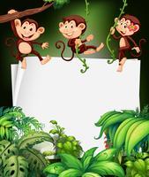 Bordure design avec singe sur l'arbre vecteur