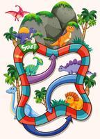 Modèle de jeu de société de nombreux dinosaures vecteur