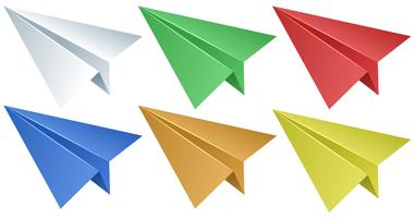 Avions en papier en six couleurs vecteur