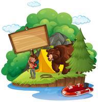 Modèle de conseil avec campeur et ours vecteur