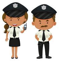 Deux policiers en uniforme noir et blanc vecteur
