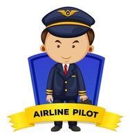Wordcard de profession avec pilote de ligne vecteur