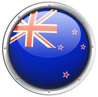 Drapeau de la Nouvelle-Zélande sur cadre rond vecteur