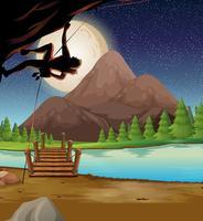 Homme, escalade, rocher, nuit pleine lune vecteur