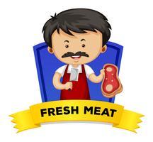 Wordcard avec mot viande fraîche vecteur