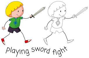 Doodle garçon jouant au combat à l'épée vecteur