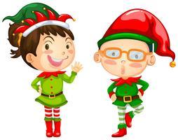 Thème de Noël avec deux lutins vecteur