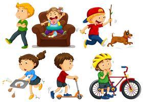 Enfants faisant différentes activités vecteur