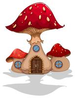 Maison champignon avec porte et fenêtres