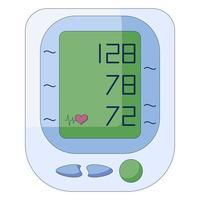 tonomètre médical, tensiomètre électronique. sphygmomanomètre numérique dans un style plat isolé sur fond blanc. vecteur