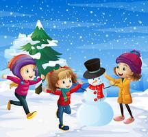 Enfants jouant dans la neige vecteur