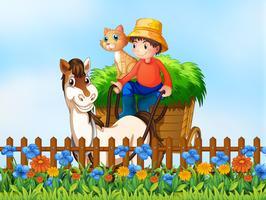 Un fermier à cheval vecteur