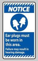 signe d'avertissement, des bouchons d'oreille doivent être portés dans cette zone, une défaillance peut entraîner des dommages auditifs vecteur
