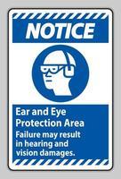 remarquez la zone de protection des oreilles et des yeux, une défaillance peut entraîner des dommages auditifs et visuels vecteur