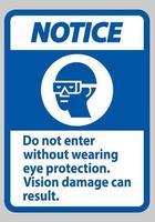 panneau d'avertissement n'entrez pas sans porter une protection oculaire, des dommages visuels peuvent en résulter vecteur