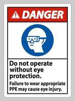 signe de danger n'entrez pas sans porter une protection oculaire, des dommages visuels peuvent en résulter vecteur