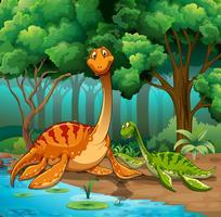 Dinosaures vivant dans la jungle