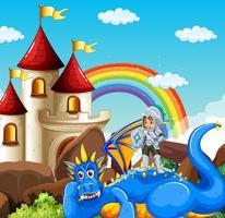 Scène avec chevalier et dragon bleu vecteur