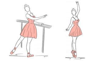 ballerine en robe et pointes. style de ligne. Danseur. vecteur