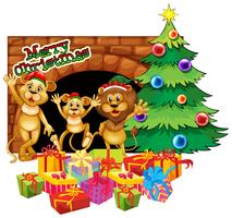 Thème de Noël avec trois lions et des cadeaux