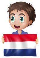 Heureux garçon avec drapeau des pays-bas vecteur