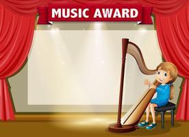 Modèle de certificat pour le prix de la musique vecteur