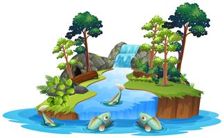 Poisson isolé dans la rivière vecteur