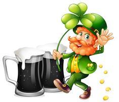 Leprechaun et bière noire vecteur